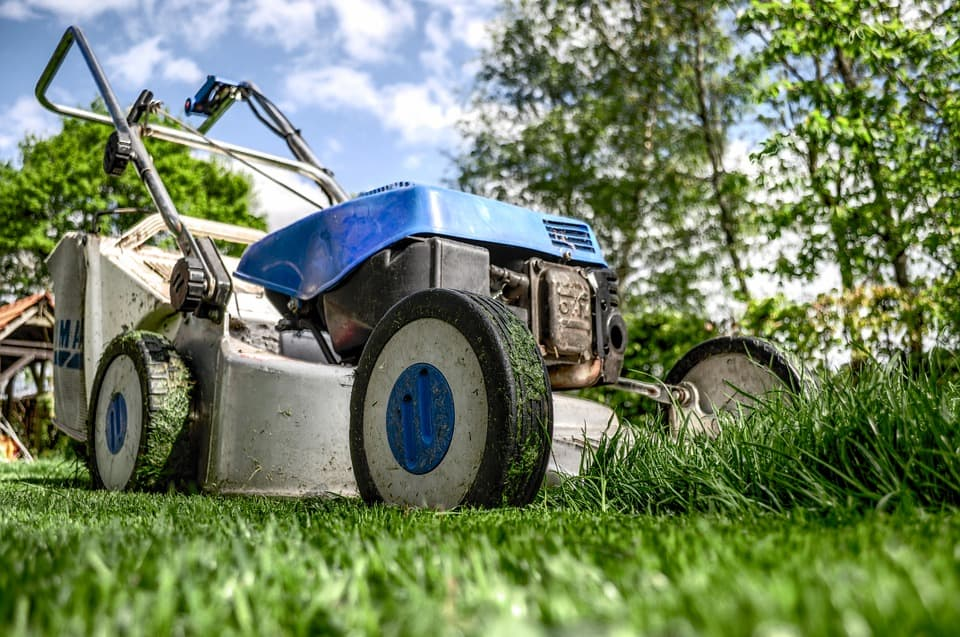 Blue and Sliver Lawn mower - lawnmoser