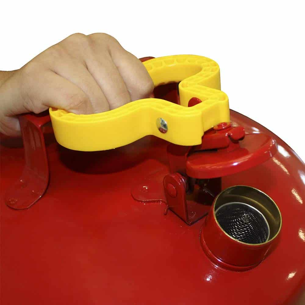 Red gas can with yellow handle