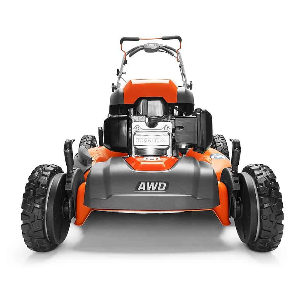 front of a lawn mower - orange lawnmower